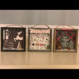 """Wooden holiday frame box scene 5"""" x 5""""x1"""" set of 3"""